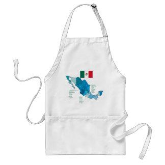 Bandera y mapa de México Delantal