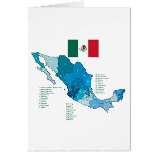 Bandera y mapa de México Felicitación