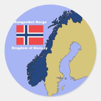Bandera y mapa de Noruega Pegatina Redonda