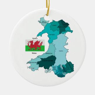 Bandera y mapa de País de Gales Adornos