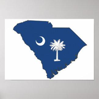 Bandera y mapa del estado de Carolina del Sur Poster