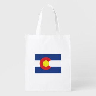 Bandera y mapa del estado de Colorado Bolsas Reutilizables