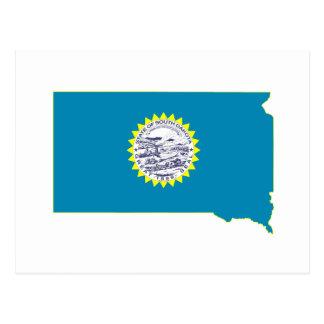 Bandera y mapa del estado de Dakota del Sur Postal