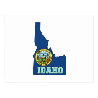 Bandera y mapa del estado de Idaho Tarjetas Postales
