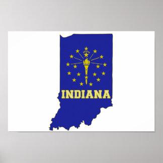 Bandera y mapa del estado de Indiana Póster