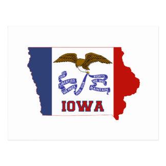 Bandera y mapa del estado de Iowa Tarjetas Postales