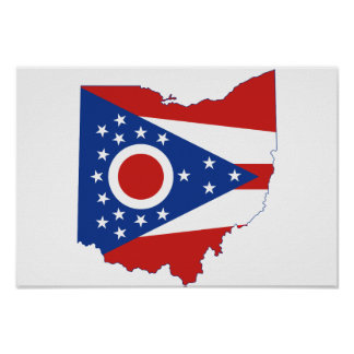 Bandera y mapa del estado de Ohio Póster