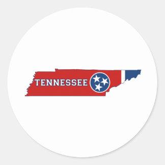 Bandera y mapa del estado de Tennessee Etiquetas Redondas