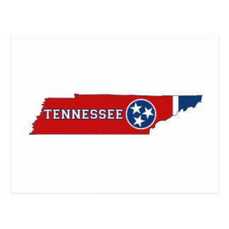 Bandera y mapa del estado de Tennessee Postales