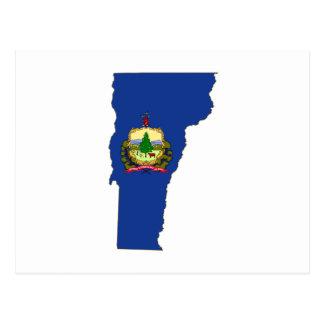Bandera y mapa del estado de Vermont Postales