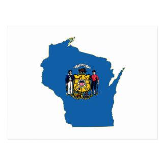 Bandera y mapa del estado de Wisconsin Postal