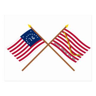 Bandera y marina de guerra cruzadas Jack de Postales