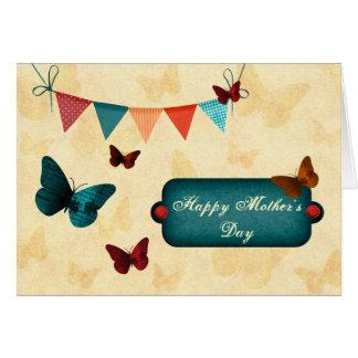 Bandera y mariposas rústicas, retras tarjeta de felicitación
