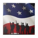 Bandera y militares de los E.E.U.U. - estos colore Azulejos Ceramicos