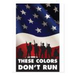 Bandera y militares de los E.E.U.U. - estos colore Postal