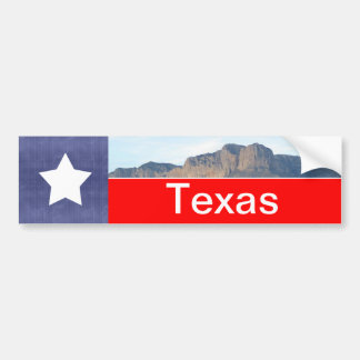 Bandera y montañas de Tejas Etiqueta De Parachoque