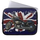 Bandera y motocicleta BRITÁNICAS patrióticas de un Funda Computadora