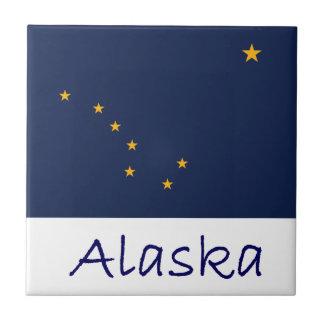 Bandera y nombre de Alaska Azulejo Cuadrado Pequeño