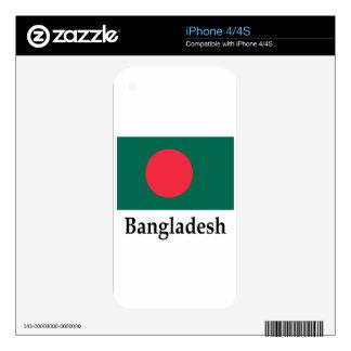 Bandera y nombre de Bangladesh Calcomanías Para iPhone 4