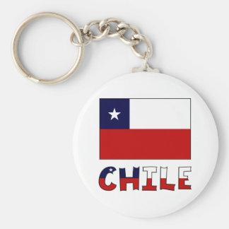 Bandera y nombre de Chile en color Llavero Redondo Tipo Pin