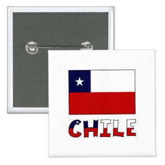 Bandera y nombre de Chile en color Pin Cuadrado