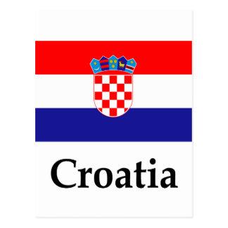 Bandera y nombre de Croacia Tarjeta Postal