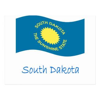 Bandera y nombre de Dakota del Sur que agita Postales