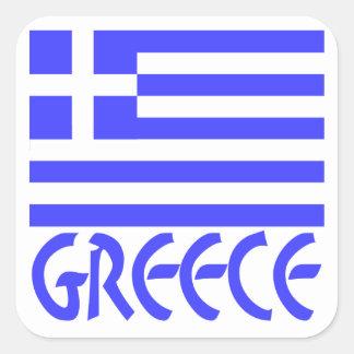 Bandera y nombre de Grecia Colcomanias Cuadradas Personalizadas