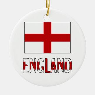 Bandera y nombre de Inglaterra Ornamento Para Arbol De Navidad