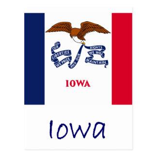 Bandera y nombre de Iowa Postales