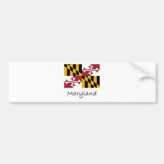 Bandera y nombre de Maryland Pegatina Para Auto