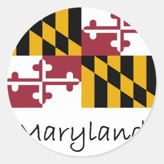 Bandera y nombre de Maryland Pegatina Redonda