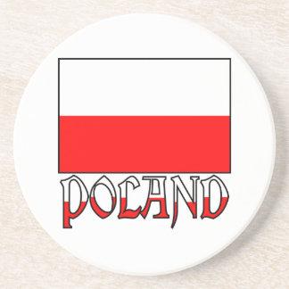 Bandera y nombre de Polonia Posavasos Para Bebidas