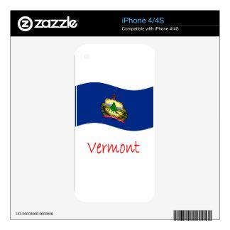 Bandera y nombre de Vermont que agita Calcomanías Para El iPhone 4