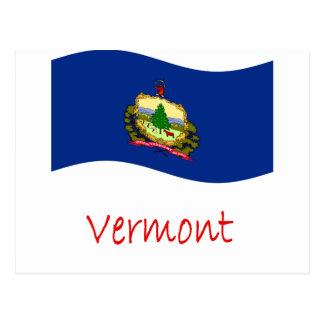 Bandera y nombre de Vermont que agita Tarjeta Postal