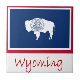 Bandera y nombre de Wyoming Azulejo Cuadrado Pequeño