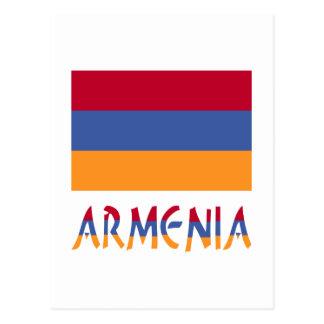 Bandera y palabra de Armenia Tarjeta Postal