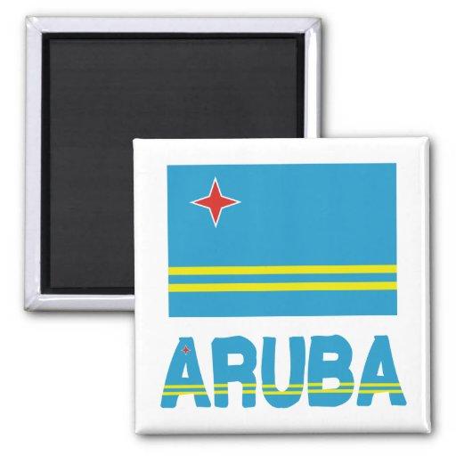 Bandera y palabra de Aruba Imán Cuadrado
