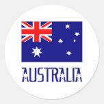 Bandera y palabra de Australia Pegatinas Redondas