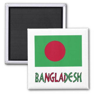Bandera y palabra de Bangladesh Imán Cuadrado