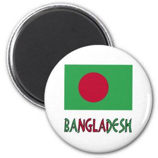 Bandera y palabra de Bangladesh Imán Redondo 5 Cm