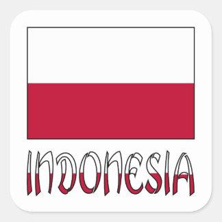 Bandera y palabra de Indonesia Pegatina Cuadrada