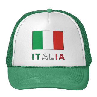 Bandera y palabra de Italia Gorro