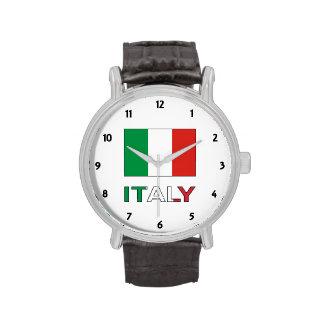 Bandera y palabra de Italia Reloj De Mano
