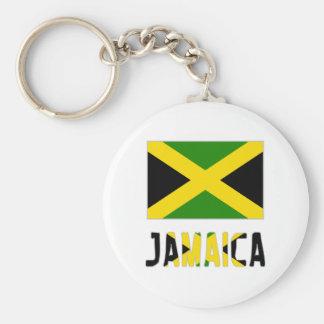 Bandera y palabra de Jamaica Llavero Redondo Tipo Pin