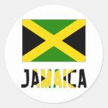 Bandera y palabra de Jamaica Pegatina Redonda