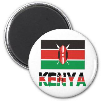 Bandera y palabra de Kenia Imán Redondo 5 Cm