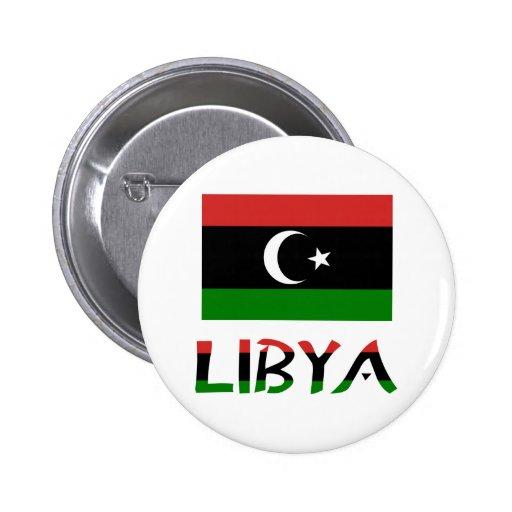 Bandera y palabra de Libia Pin