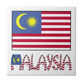 Bandera y palabra de Malasia Azulejo