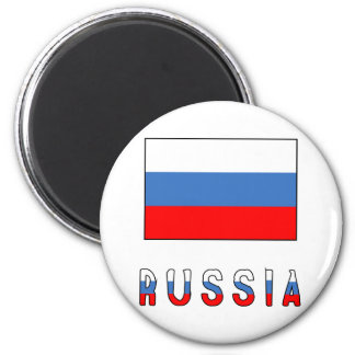 Bandera y palabra de Rusia Imán Redondo 5 Cm
